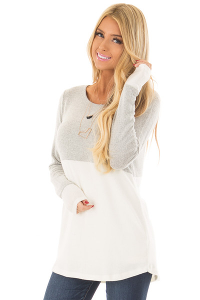 Heather Grey and Ivory Color Block Top front close up