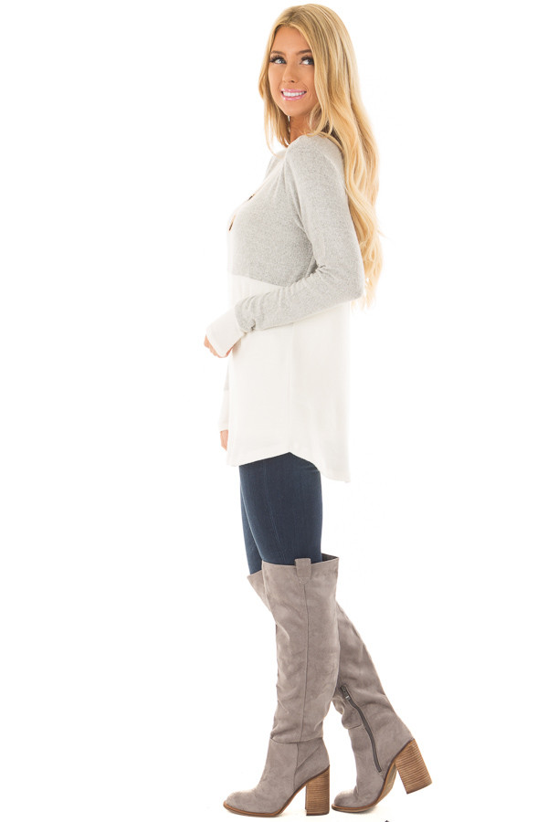 Heather Grey and Ivory Color Block Top side full body