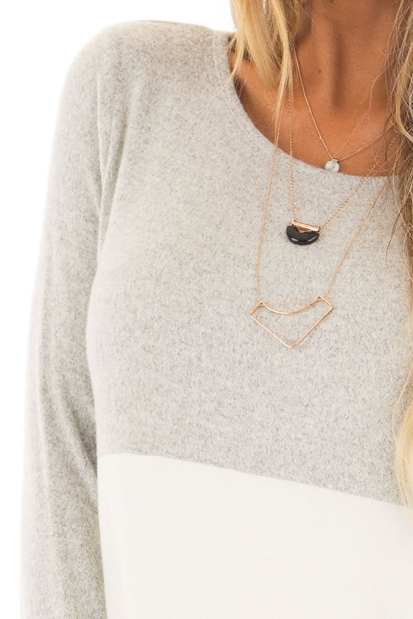 Heather Grey and Ivory Color Block Top detail