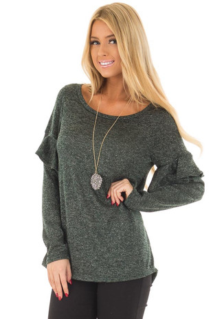 Hunter Green Sparkle Top with Ruffle Detail front close up
