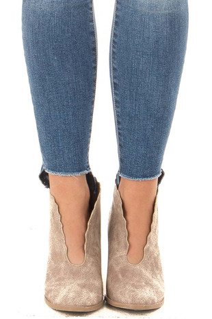 Taupe Heeled Booties with Scalloped Edges front view