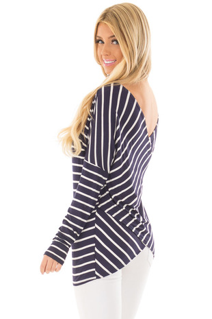 Navy and Ivory Striped Top with Back Twist Detail back side close up