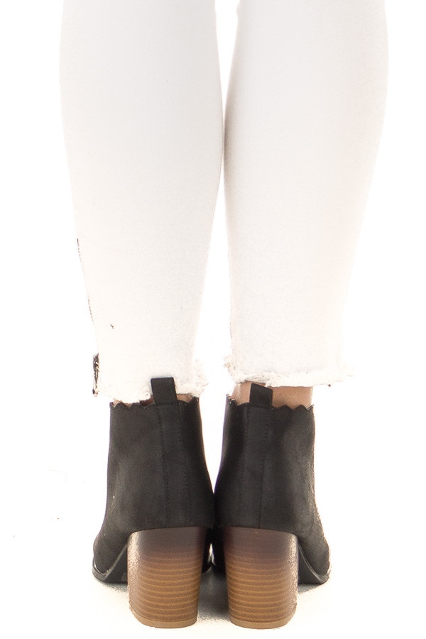 Black Heeled Booties with Scalloped Edges back view