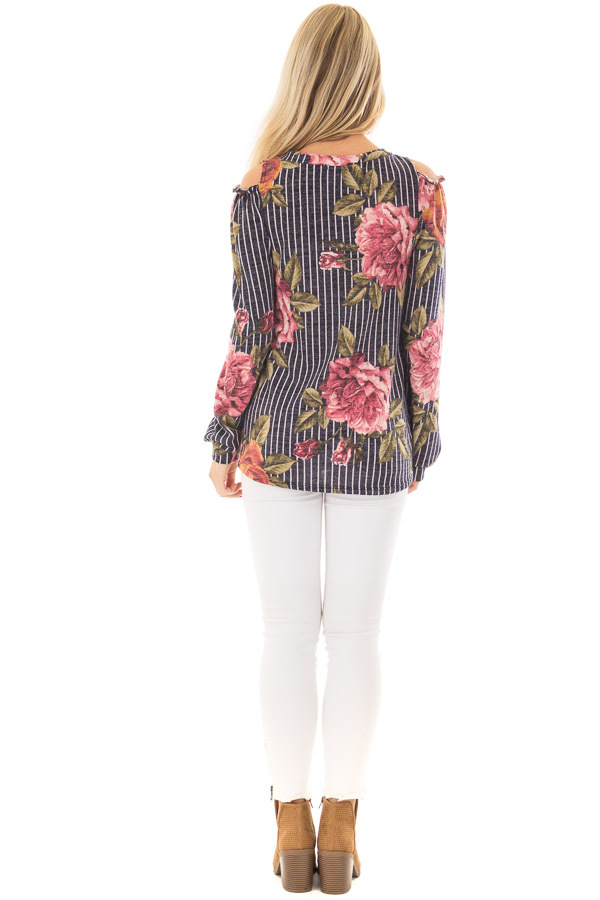 Navy Striped Floral Print Top with Cold Shoulders back full body