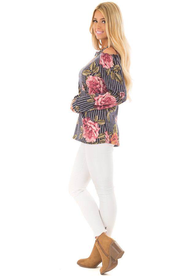 Navy Striped Floral Print Top with Cold Shoulders side full body