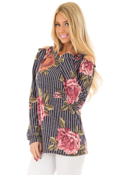 Navy Striped Floral Print Top with Cold Shoulders front close up
