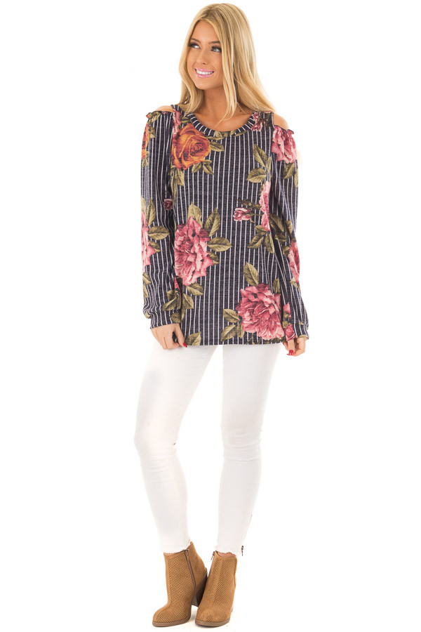 Navy Striped Floral Print Top with Cold Shoulders front full body