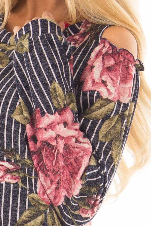 Navy Striped Floral Print Top with Cold Shoulders detail