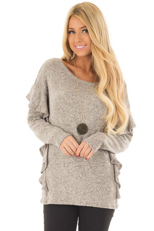 Taupe Two Tone Top with Ruffle Details front close up