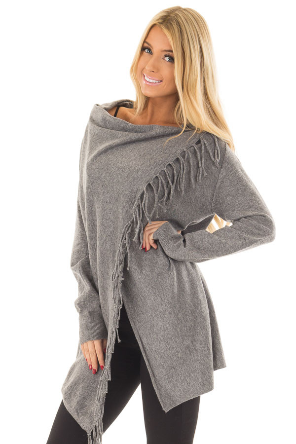 Charcoal Long Sleeve Sweater Wrap Cardigan with Fringe front close up