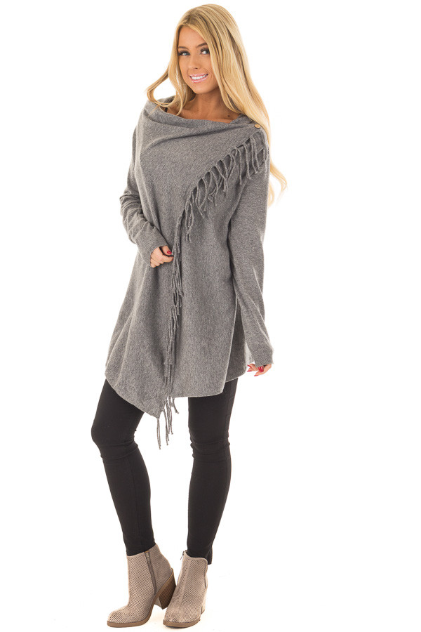 Charcoal Long Sleeve Sweater Wrap Cardigan with Fringe front full body