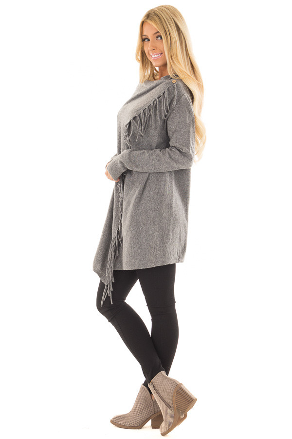 Charcoal Long Sleeve Sweater Wrap Cardigan with Fringe side full body