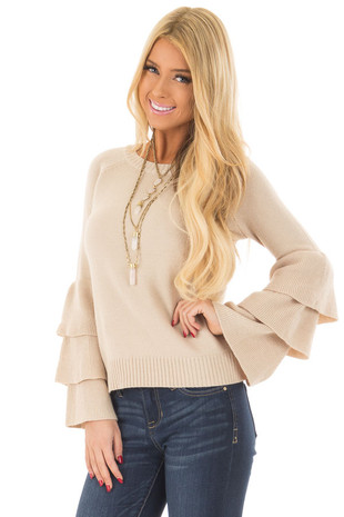 Taupe Sweater with Long Tiered Bell Sleeves front close up