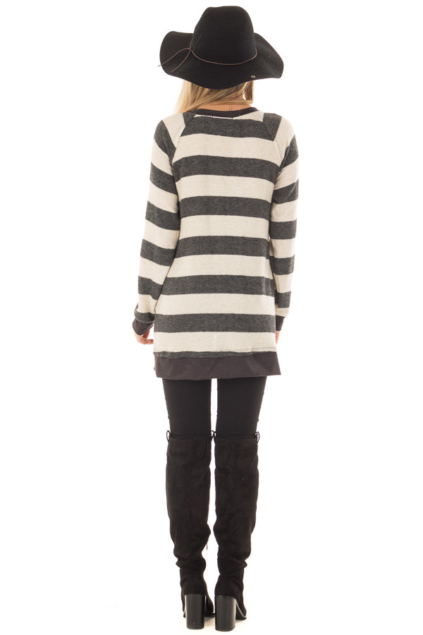 Charcoal Striped Layered Tunic with Faux Suede Details back full body