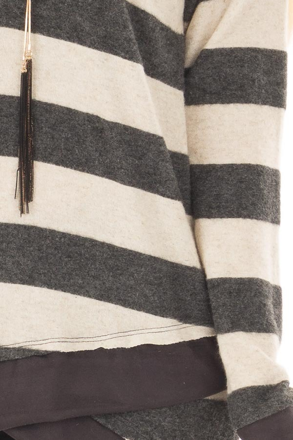 Charcoal Striped Layered Tunic with Faux Suede Details detail
