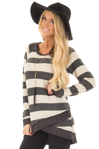 Charcoal Striped Layered Tunic with Faux Suede Details front close up