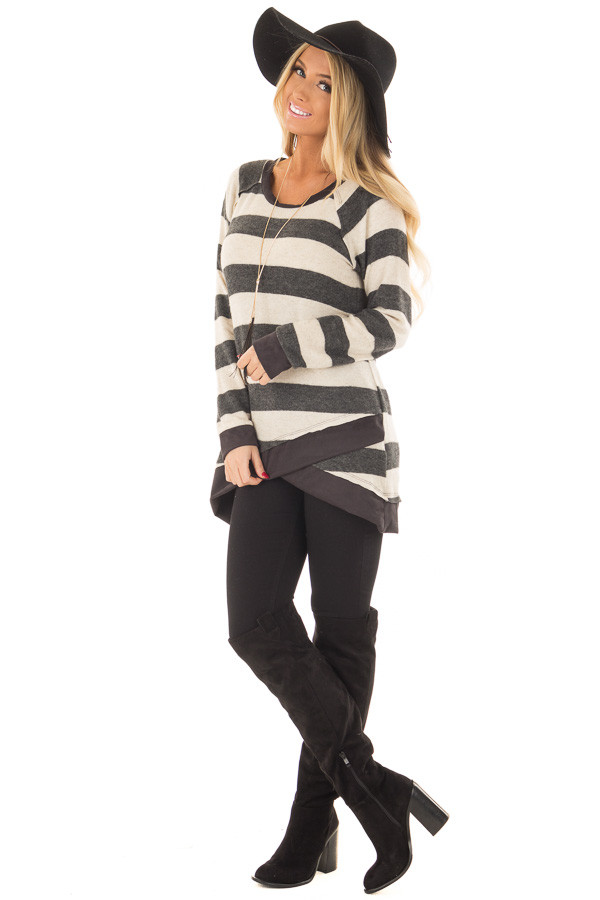 Charcoal Striped Layered Tunic with Faux Suede Details front full body