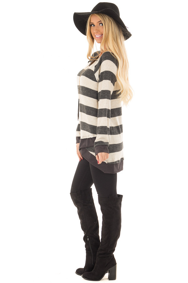 Charcoal Striped Layered Tunic with Faux Suede Details side full body