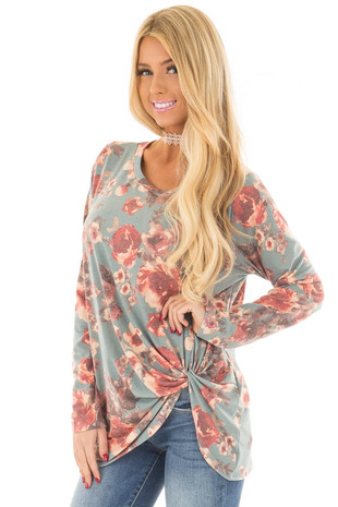 Slate Blue Floral Print Top with Front Twist front close up