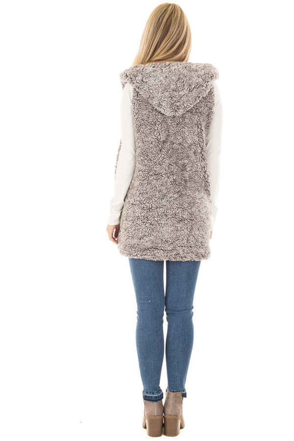 Cloud Grey Sherpa Open Vest with Hood and Pockets back full body