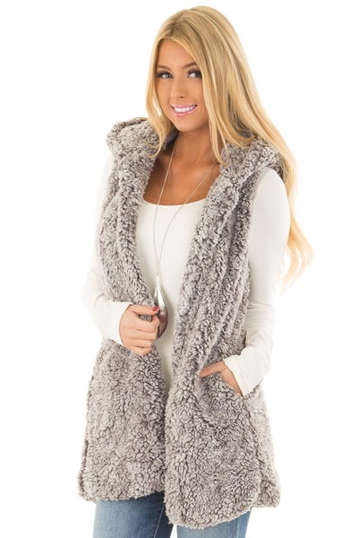 Cloud Grey Sherpa Open Vest with Hood and Pockets front close up