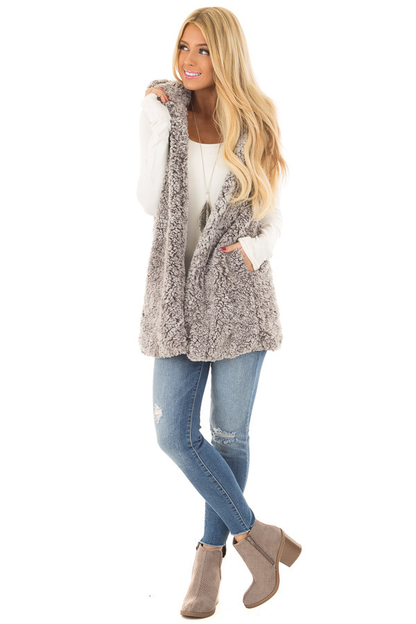 Cloud Grey Sherpa Open Vest with Hood and Pockets front full body