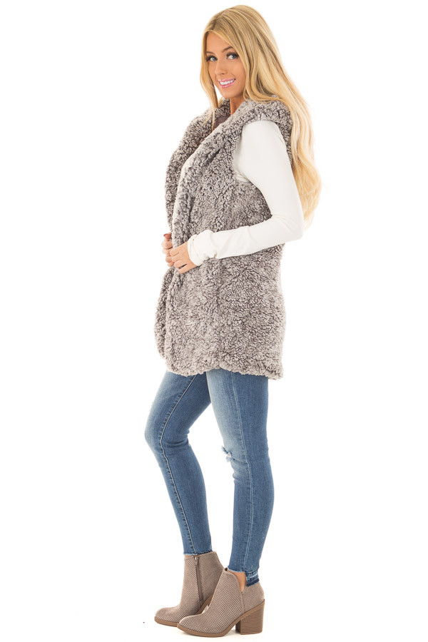 Cloud Grey Sherpa Open Vest with Hood and Pockets side full body