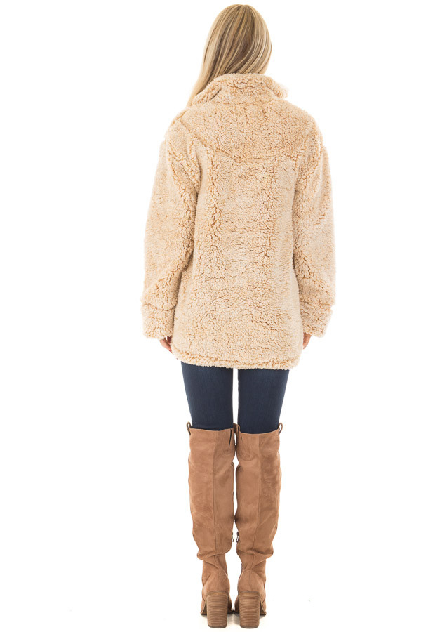 Beige Quarter Zip Super Soft Sherpa Jacket back full body