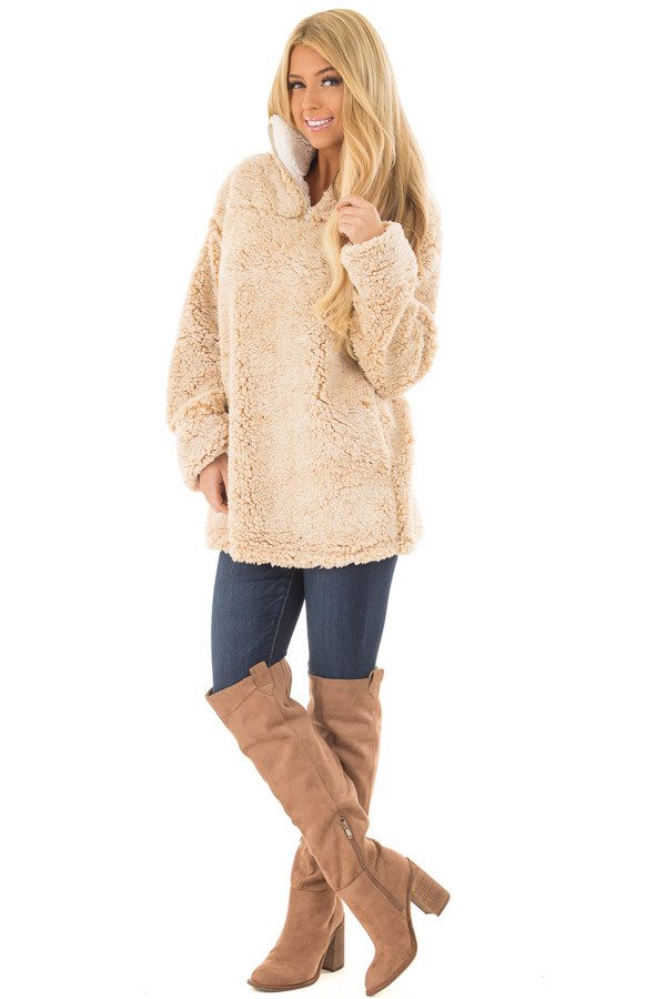 Beige Quarter Zip Super Soft Sherpa Jacket front full body