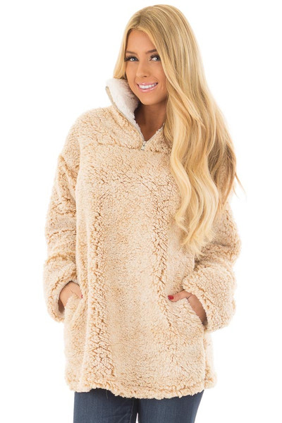 Beige Quarter Zip Super Soft Sherpa Jacket front close up
