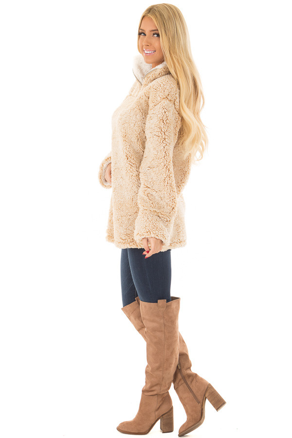 Beige Quarter Zip Super Soft Sherpa Jacket side full body