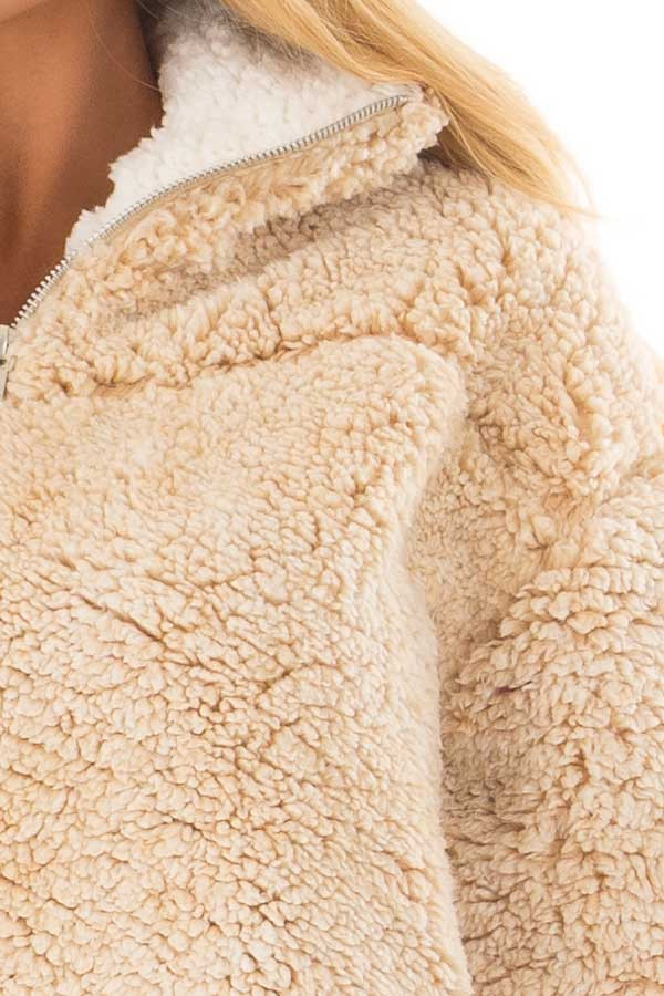 Beige Quarter Zip Super Soft Sherpa Jacket detail