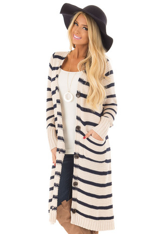 Oatmeal Striped Long Button Up Cardigan with Pockets front close up