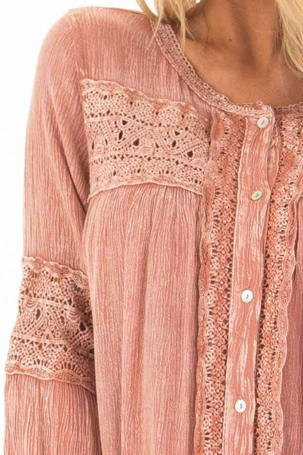 Antique Rose Mineral Wash Tunic with Sheer Lace Contrast detail