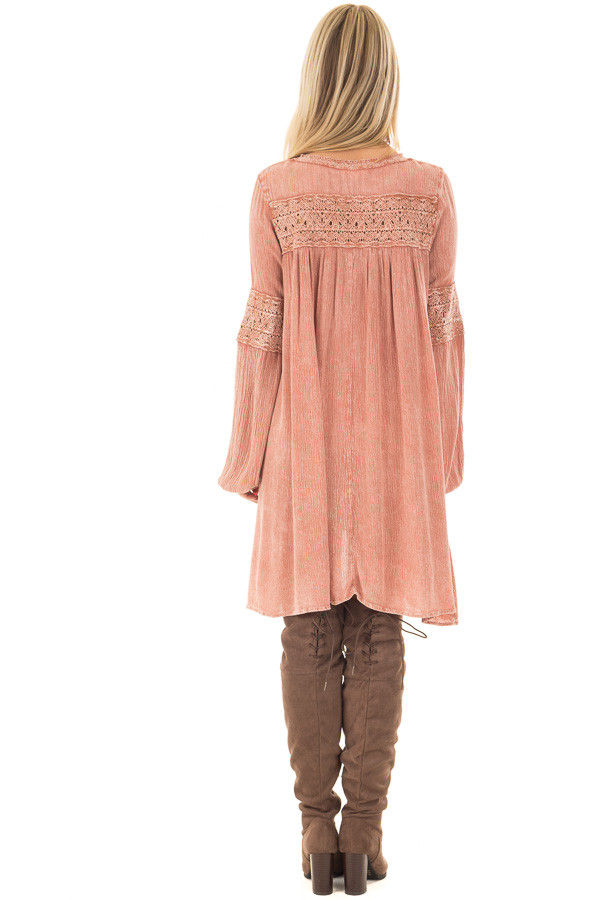 Antique Rose Mineral Wash Tunic with Sheer Lace Contrast back full body
