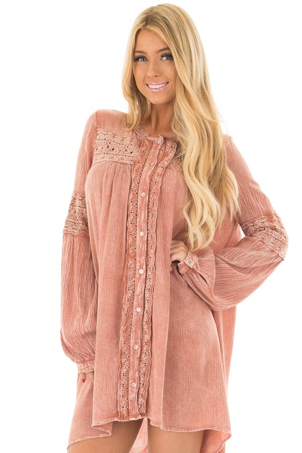 Antique Rose Mineral Wash Tunic with Sheer Lace Contrast front close up