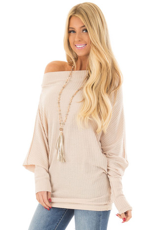 Nude Oversized Off the Shoulder Waffle Knit Top front close up