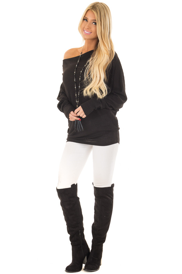 Black Oversized Off the Shoulder Waffle Knit Top front full body