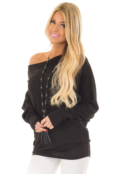 Black Oversized Off the Shoulder Waffle Knit Top front close up