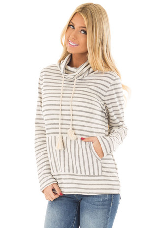 Ivory Striped Cowl Neck Sweater with Kangaroo Pocket front close up