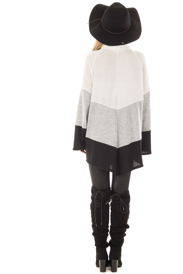 Ivory, Heather Grey and Black Color Block Poncho Style Top back full body