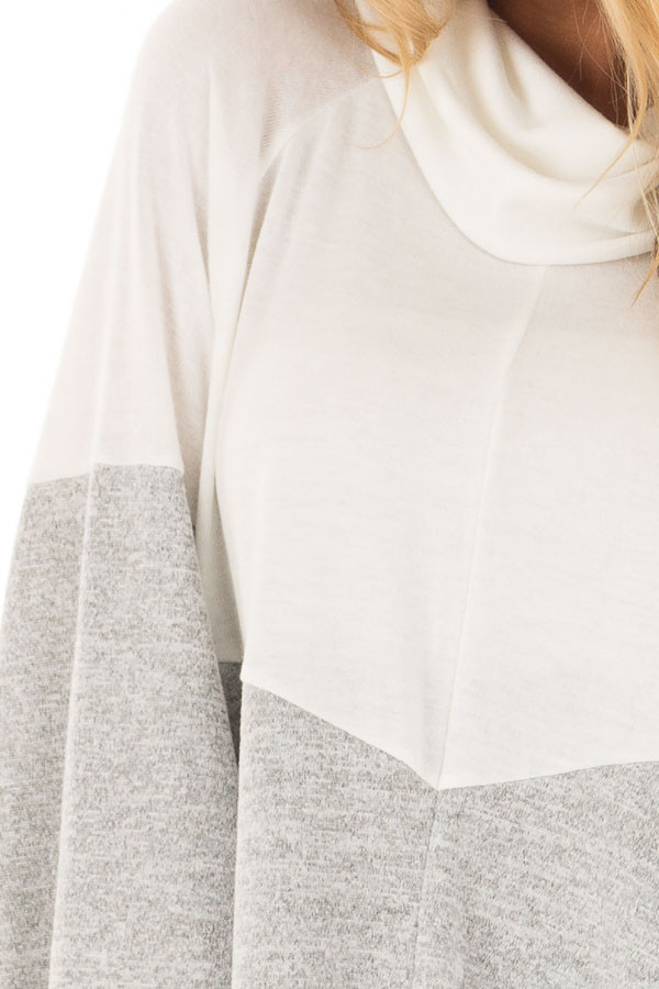 Ivory, Heather Grey and Black Color Block Poncho Style Top detail