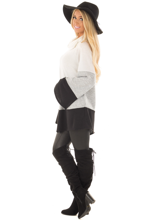 Ivory, Heather Grey and Black Color Block Poncho Style Top side full body
