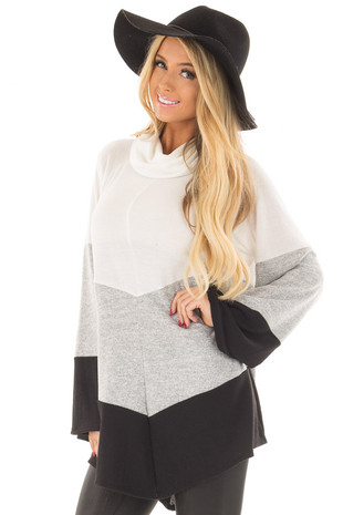 Ivory, Heather Grey and Black Color Block Poncho Style Top front close up