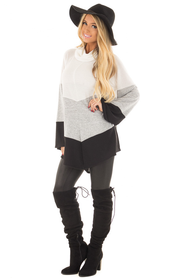 Ivory, Heather Grey and Black Color Block Poncho Style Top front full body