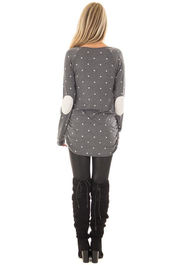 Charcoal Polka Dot Top with Gathered Side Detail back full body