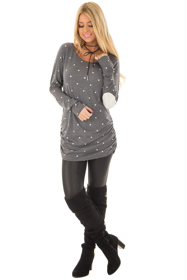 Charcoal Polka Dot Top with Gathered Side Detail front full body