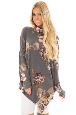 Charcoal Floral Print Oversized Top with Cowl Neck front close up