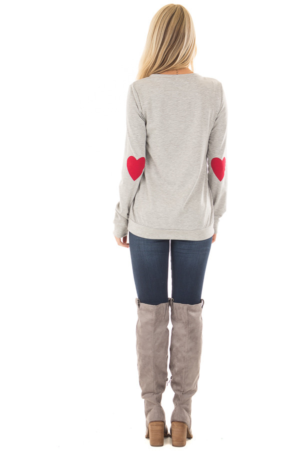 Heather Grey Top with Red Heart Elbow Patches back full body