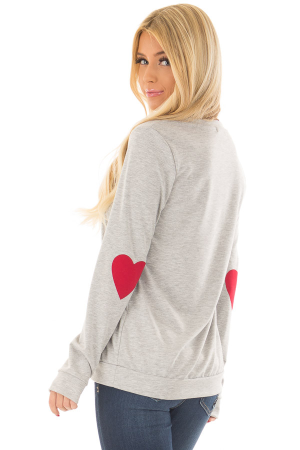 Heather Grey Top with Red Heart Elbow Patches back side close up